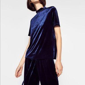 Zara faux Velvet Navy Blue Top Shirt sz Medium